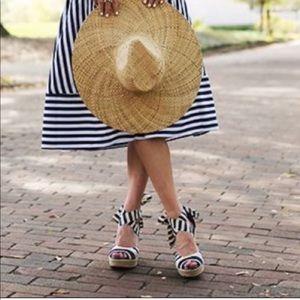 UGG Striped Tie Wedge Sandals Size 8.5